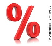 3d red percent isolated on... | Shutterstock . vector #84949879