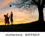 Small photo of Children playing in sunset, silhouettes, freedom and happiness