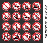 set prohibited signs on a gray... | Shutterstock .eps vector #84959902