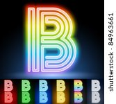 Alphabet Of Neon Tubes. Letter B