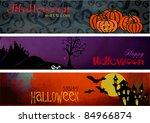 three halloween banners headers ...   Shutterstock .eps vector #84966874
