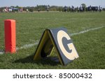 Goal line marker on a football field - stock photo