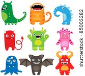 Stock vector set of different cute funny cartoon monsters 85003282