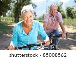 senior couple on country bike... | Shutterstock . vector #85008562