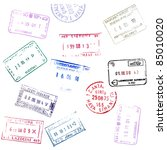 colorful passport stamps... | Shutterstock . vector #85010020