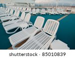 many sun tanning beach chairs... | Shutterstock . vector #85010839