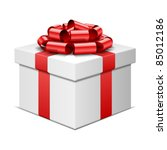gift box with red bow isolated... | Shutterstock .eps vector #85012186