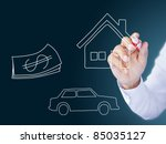 Hand drawing home, car and money - stock photo