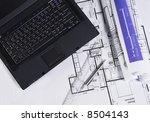 office supplies on blueprint | Shutterstock . vector #8504143