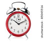 red alarm clock  ringing  white ...