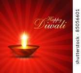 diwali festival diya on red... | Shutterstock .eps vector #85056601