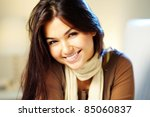 image of young woman with dark... | Shutterstock . vector #85060837