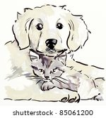 Stock photo puppy and kitten hand drawing sketch 85061200