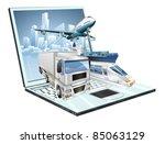 Logistics laptop computer, delivery, transportation; plane, truck, ship, train concept - stock vector
