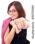 beautiful young business woman shows forefinger isolated on white background - stock photo