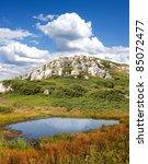 small mountain lake - stock photo