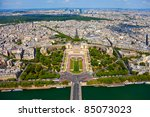 View from Eiffel tower on Trocadero - stock photo