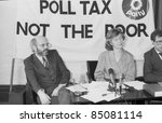 Small photo of LONDON - MARCH 29: The Green Party hold a press conference on the Poll Tax on March 29, 1990 in London. (L-R Ron Bailey, Janet Alty, Hugo Charlton).