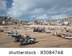 St Ives Harbor At Low Tide Wit...