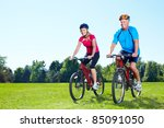 happy senior couple  riding  in ... | Shutterstock . vector #85091050