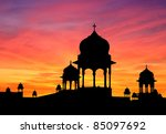 silhouette at sunset of typical ... | Shutterstock . vector #85097692