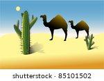 vector illustration of  desert   Shutterstock .eps vector #85101502