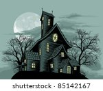 Halloween scene. Illustration of a spooky haunted ghost house - stock photo