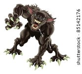 A fearsome werewolf monster attacking the viewer - stock photo