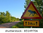 Wild Animals Warning Road Sign...