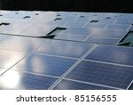 Photovoltaic solar panels on the roof for ecologic energy - stock photo