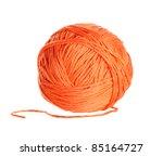 Ball Of Orange  Yarn On White...