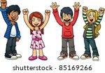 excited cartoon kids. vector... | Shutterstock .eps vector #85169266