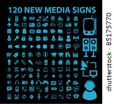 120 new blue media signs  icons ... | Shutterstock .eps vector #85175770