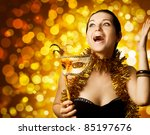 beautiful surprised woman with... | Shutterstock . vector #85197676