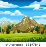 autumn landscape with meadow ... | Shutterstock .eps vector #85197841