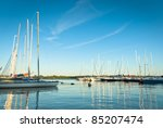 yachts on an anchor in harbor  ... | Shutterstock . vector #85207474