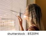 woman with a shadow from blinds ... | Shutterstock . vector #852094