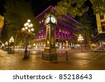 Stock photo historic steam clock in gastown vancouver british columbia canada at night 85218643