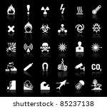 White Symbols Danger Icons On...