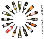 Wine Bottles Circle White Background - Fine Art prints
