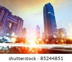 the light trails on the modern...   Shutterstock . vector #85244851