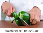 female chef preparing green... | Shutterstock . vector #85254850