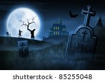spooky halloween night. foggy... | Shutterstock . vector #85255048