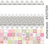 fabric with roses and hearts | Shutterstock . vector #85257034