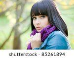 cute girl in scarf in cold weather - stock photo