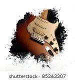 Grunge guitar background - stock photo