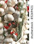garlic rows food background