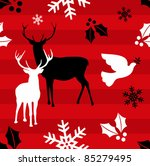 Christmas elements and reindeer over red striped pattern background .Vector illustration - stock vector