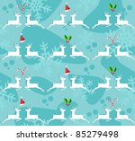 Christmas decorative elements and reindeer seamless pattern background. Vector illustration. - stock vector