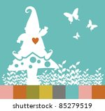 White elf silhouette on a mushroom, leaves and butterflies. Vector file available. - stock vector